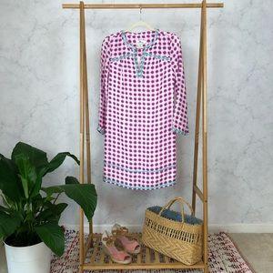Vineyard Vines Silk Tie Dye Embroidered Dress